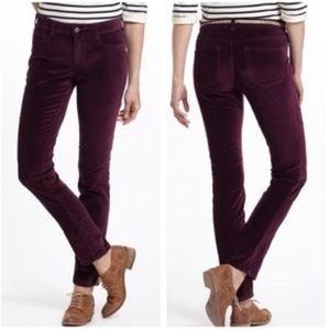 Anthro Pilcro Serif Fit Burgundy Velvet Pants 29